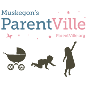 Muskegon's Parentville logo, with baby carriage, crawling baby, and young child. parentville.org